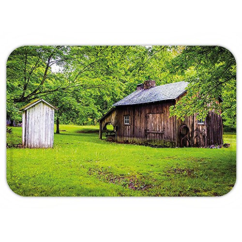 Outhouse Halloween Costumes (Kisscase Custom Door MatOuthouse Spring Time Forest Leavewith Outhouse Little Cottage Art Photo Fern Green and Dark Brown)