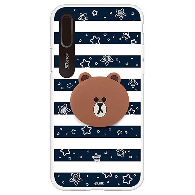 low priced c74c4 72970 iPhone X Case, LINE FRIENDS Official Light Up Silicone Case (Brown Navy  Stripe)