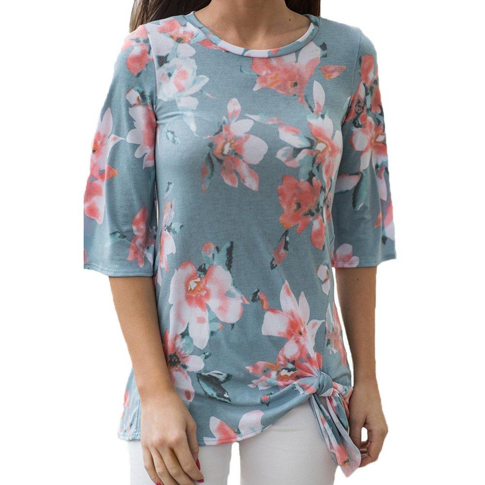 Antopmen Summer Women O Neck Half Sleeve Floral Print T-Shirt Comfy Casual Tops (Large, Blue) by Antopmen (Image #2)