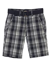 Gioberti Big Boys Plaid Shorts With Front Button & Zipper and Belt Loop Waistband
