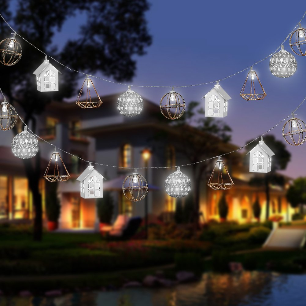 ANDYKEN Solar Powered String Lights - 20 Led Outdoor String Lights Waterproof Decorative String Lights for Patio Garden Gate Yard Party Wedding Christmas(White)