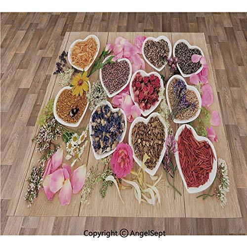 - Non-Slip Super Soft Rugs Cozy Kids Bedroom Living Room Carpet 40x63in,Healing Herbs Heart Shaped Bowls Flower Petals on Wooden Planks Print Healthcare Decorative,Multicolor Indoor/Outdoor Area Runner