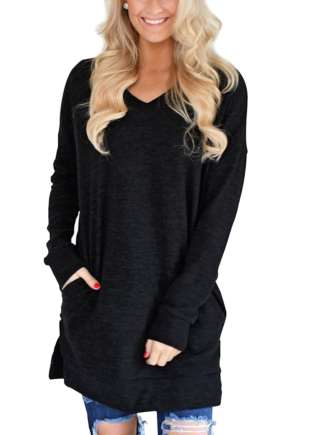 Kool Classic Womens Casual Long Sleeves Solid V-Neck Tunics Tops With Pockets Black X-Large
