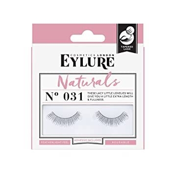 55cc9056b5d Amazon.com : Eylure Fake Eyelashes, No. 031 Natural Look, Reusable,  Adhesive Included, Tapered, 1 Pair : Beauty