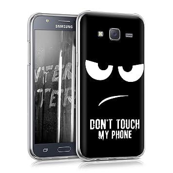 kwmobile Funda para Samsung Galaxy J5 (2015) - Carcasa de TPU para móvil y diseño Dont Touch my Phone en Blanco/Negro