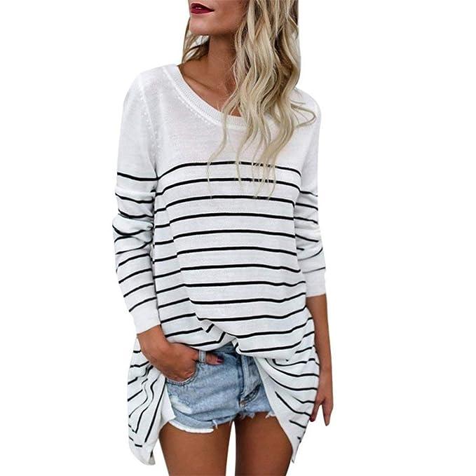 5447a0690e0cf Longue Shirt Femme Élégant Printemps Automne Long Manches Rayures Rond Col  Haut Longues Loisir Spécial Style