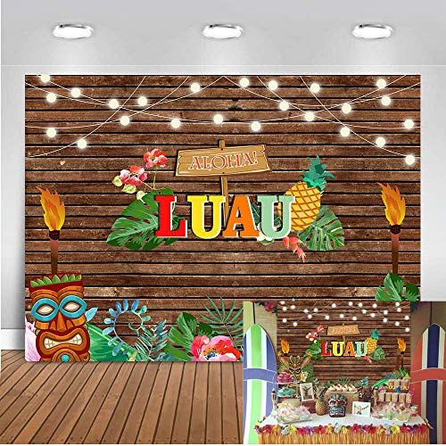 Art Studio 7x5ft Summer Aloha Luau Party Photography Backdrops Tropical Hawaiian Sea Palm Tree Pineapple Photo Background Flower Wooden Board Birthday Musical Cake Table Decor Photo Studio Props Vinyl