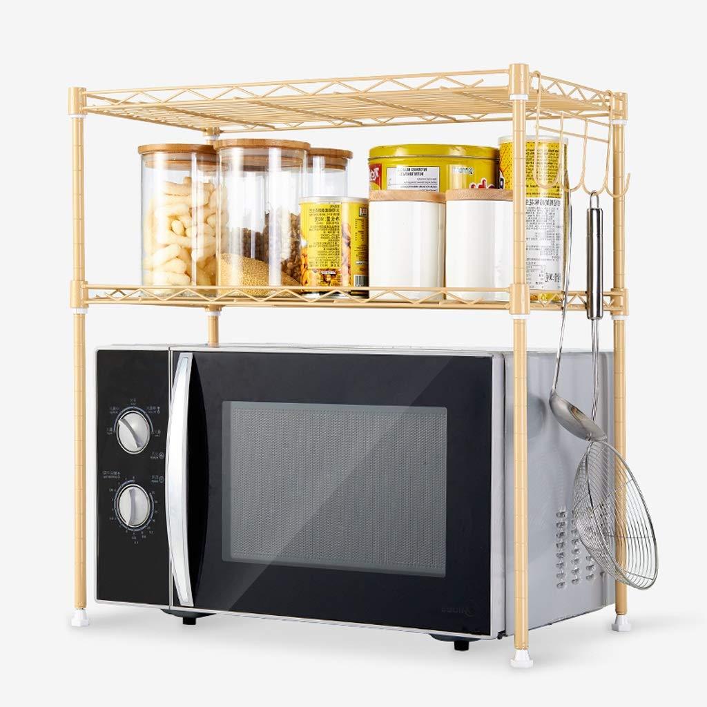 キッチン棚電子レンジラック55 * 30 * 55 cmダブル収納ラックホーム収納ラックダブルオーブン収納ラック電子レンジの長さ調節可能 B07RLG69XS