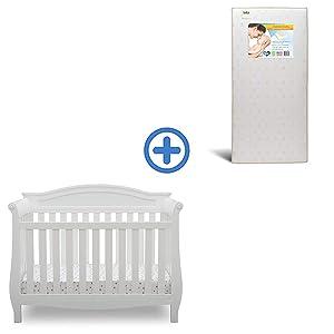 Delta Children Lancaster 4-in-1 Convertible Baby Crib & Twinkle Stars Waterproof Fiber Core Crib and Toddler Mattress, Bianca White