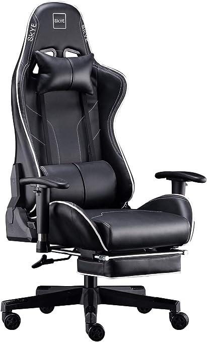 SKYE オフィスチェア ゲーミングチェア デスクチェア 仕事椅子 伸縮可能のオットマン 事務椅子 リクライニングチェア 多機能 パソコンチェア ハイバック [ 非再生高品質ウレタン採用 ] ゲーム用チェア 腰痛対策 一年無償部品交換保証(ブラック)