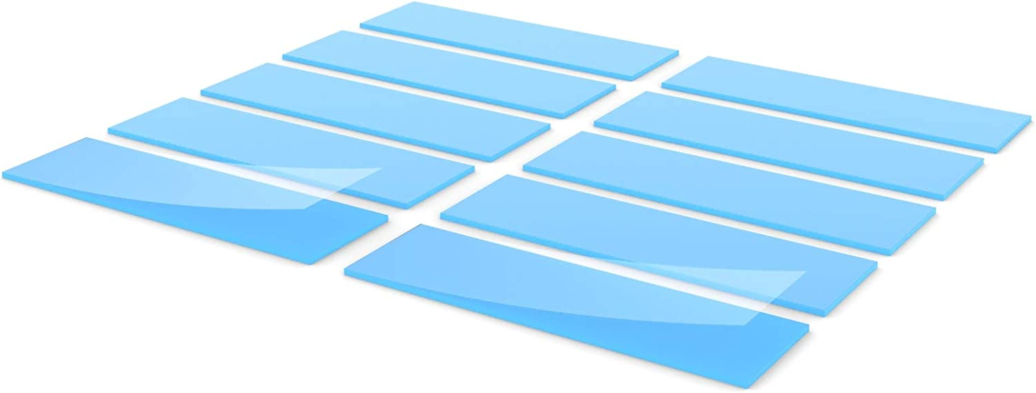 Insulation,Soft Slight Viscosity Silicone Thermal Pad Cooling SSD CPU GPU LED IC Chipset 20x67x1.5mm Blue 10 pcs Plasticity Excellent Alternative to Thermal Paste or Thermal Grease,6.0W//mk