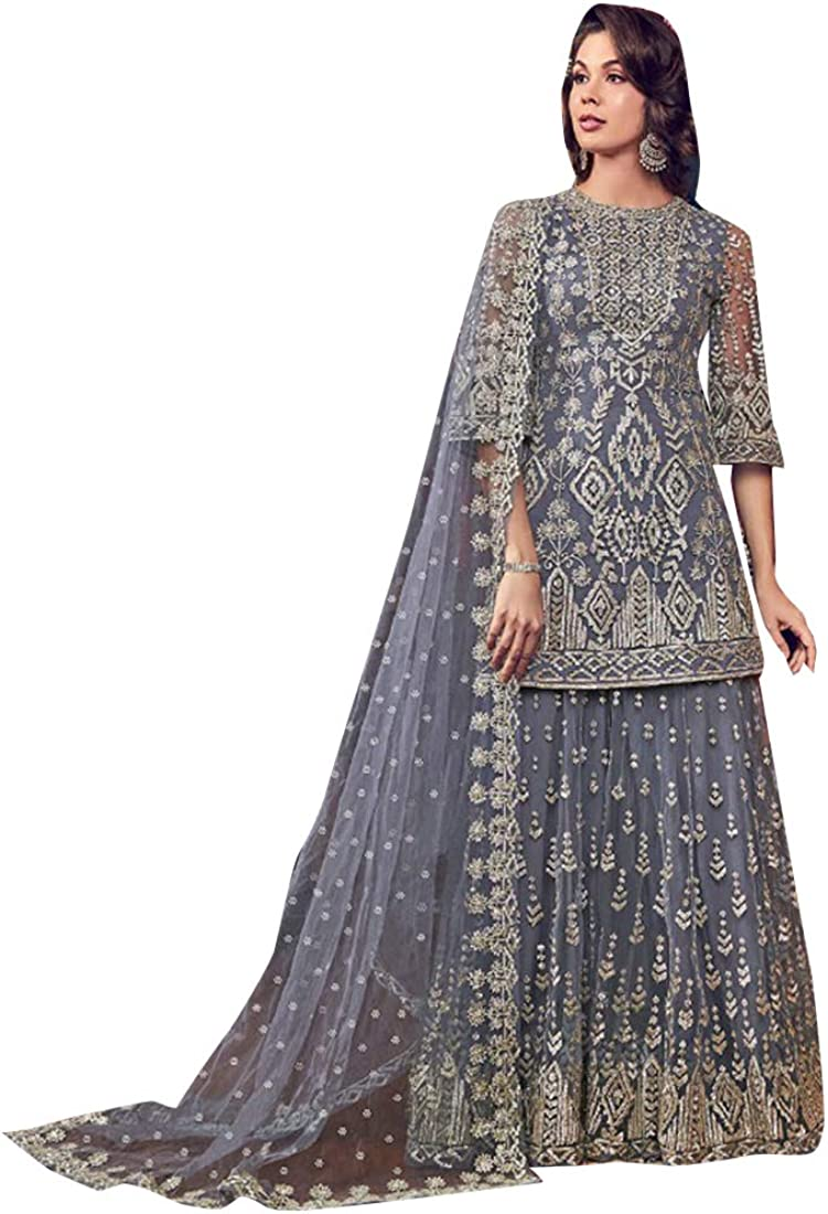 Amazon Com Shri Balaji Silk Cotton Saree Emporium Grey Indian Muslim Designer Evening Cocktail Heavy Work Net Short Kurti Sharara Suit Women Party Wear Bespoke 7927 Sb Clothing