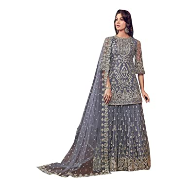 3a610a678f Amazon.com: Grey Indian Muslim Designer Evening Cocktail Heavy work Net  Short Kurti Sharara Suit Women Party wear Bespoke 7927: Clothing