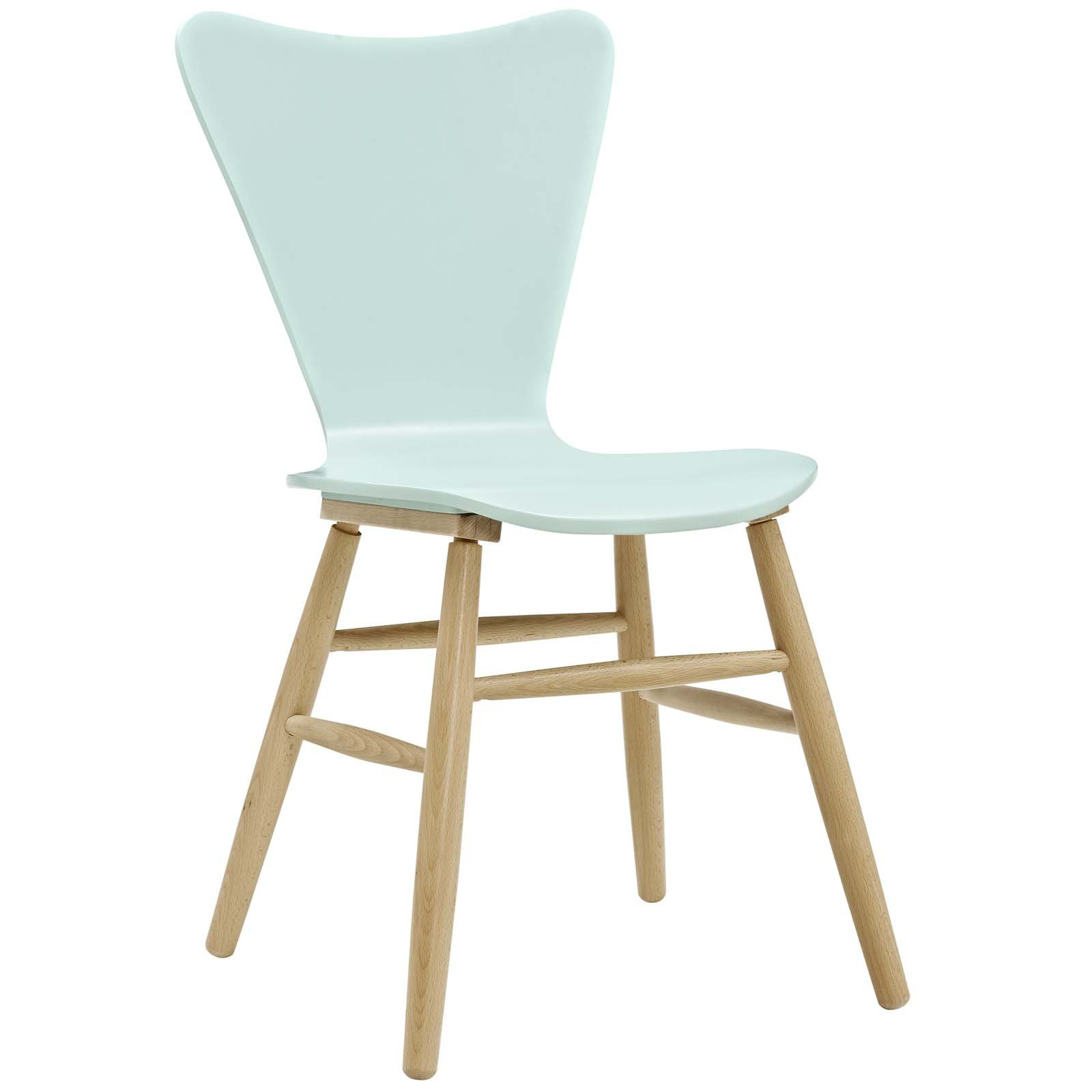 Modway EEI-2672-LBU Cascade Mid-Century Modern Wood Dining Side Chair, Light Blue
