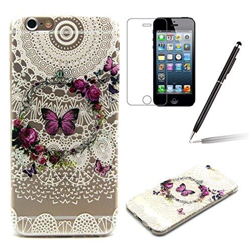 iPhone 6S Clair Case - Felfy Ultra mince Slim Fashion Butterfly Lace Flowers Design Style Gel Souple Soft Flexible TPU Silicone Coque Etui Protective Housse Bumper Cas Cover Couverture pour Apple iPho