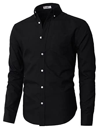 a3b5f64569 H2H Mens Stylish Casual Oxford Long Sleeve Button-Down Shirts Black US  S/Asia