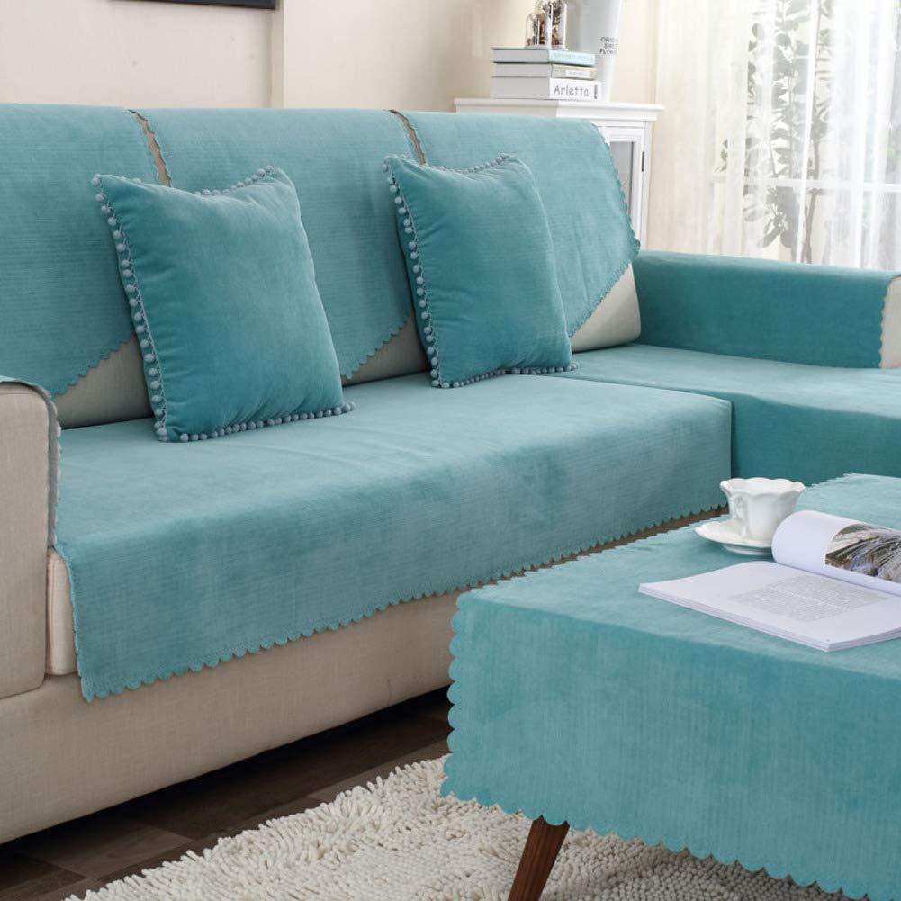 TT&CC Funda de sofá de Felpa,Orina Impermeable Antideslizante para Mascotas Perro bebé sofá Protector Color sólido salón combinación sofá Toalla -C ...