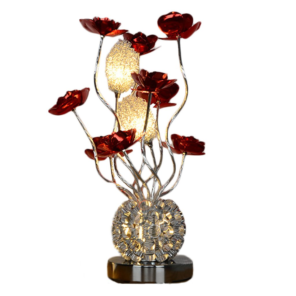 SYAODUテーブルランプアルミメタルモダン花瓶の花のデザインLEDデスクライト3 * 2W 6500KホワイトG4ランプビーズ、ブラシベースの装飾的なベッドサイド照明ランプ ( 色 : Red Flower ) B07C3XX9TL Red Flower Red Flower