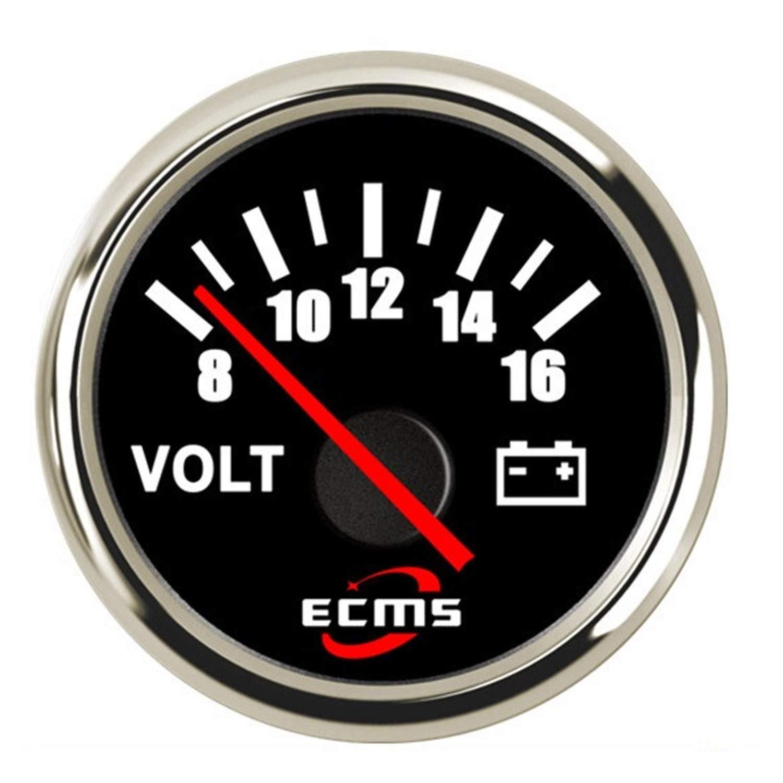 LANZHEN-Car Instruments Bateau Camion de Voiture Voltm/ètre de jauge de Tension de Camion de Bateau de Voiture 52mm 8-16V