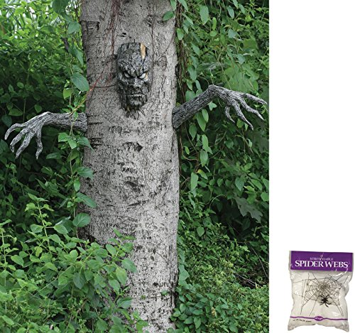 Bundle: 2 Items - Spooky Living Tree Decor and Free Spider Web (Comes with Free How to Live Stress Free (Scary Tree)