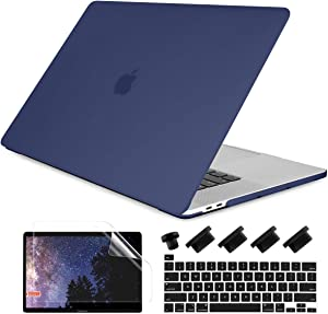 Dongke MacBook Pro 16 inch Case 2020 2019 Release A2141, Frosted Matte Plastic Hard Shell Case & Keyboard Cover for MacBook Pro 16-inch Retina Display with Touch Bar and Touch ID, Navy