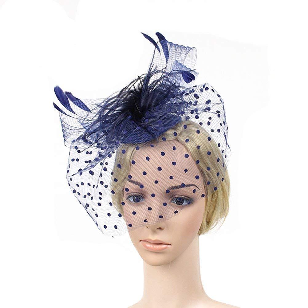 Frcolor Petit Chapeau Voilette Avec Plume Pour La Mariage( Noir )
