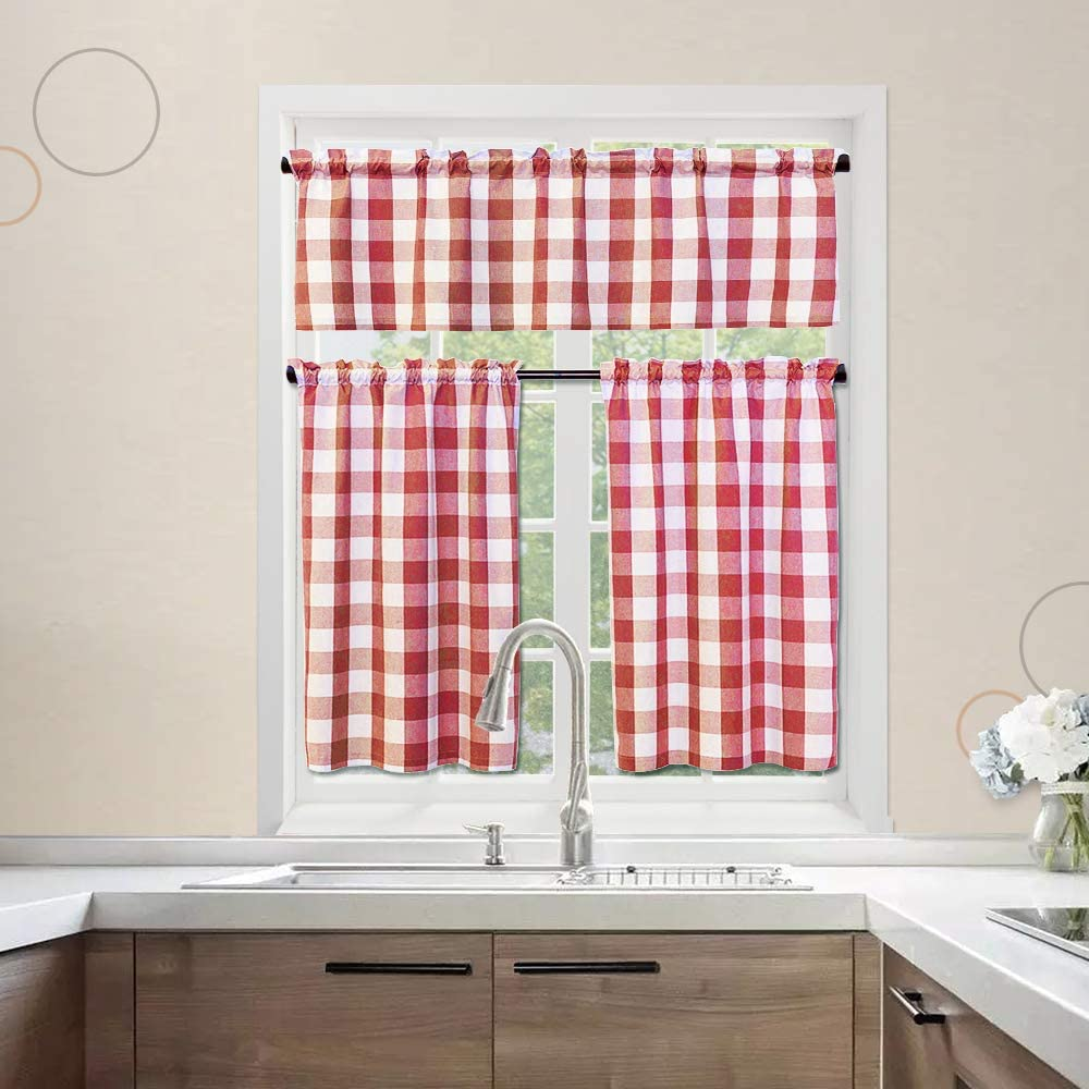 3 Pc Cotton Classic Country Farmhouse Kitchen Window Curtain -Red & White Buffalo Check Tier & Valance Set, 54