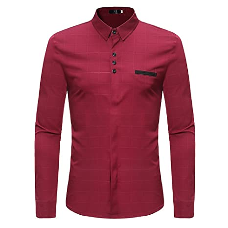 Hombre camisa manga larga Otoño,Sonnena ❤ Camisas para hombres delgadas con cuadros Camiseta