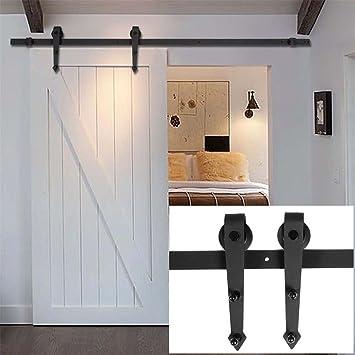 Hh casa Hardware 6 ft Track país acero sola puerta corrediza de granero madera flecha estilo rodillo Rail Kit de color negro envejecido: Amazon.es: Bricolaje y herramientas