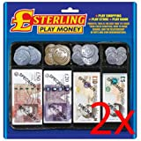 2 x Fake Money Notes Coins Pounds Sterling £ Cash Pretend Role Play Shop Keeper.