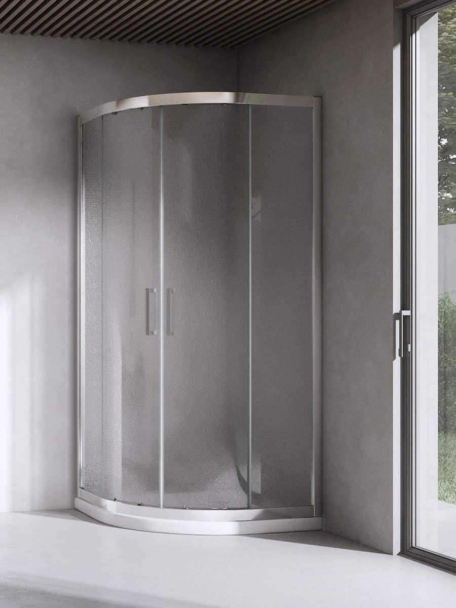 Yellowshop - Cabina de ducha curvada, semicircular, 80 x 80 cm, cristal de 6 mm transparente, gris: Amazon.es: Bricolaje y herramientas