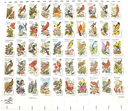 Flowers Mint Stamps - 20-cent,States Birds and Flowers Commemorative Stamps Depicting each State's Bird and Flower, Scott 1953a-2002a, Mint Set of Stamps by US Postal Service