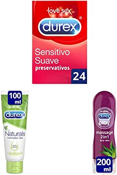 Durex Pack 24 preservativos Sensitivo Suave + 2 Lubricantes (1 Naturals 100ml y 1 Aloe Vera 200ml) + 1 Gel masaje: Amazon.es: Salud y cuidado personal