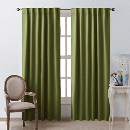 Ordinaire Living Room Blackout Draperies Curtains   (Olive Green Color) W52 X L84, 2