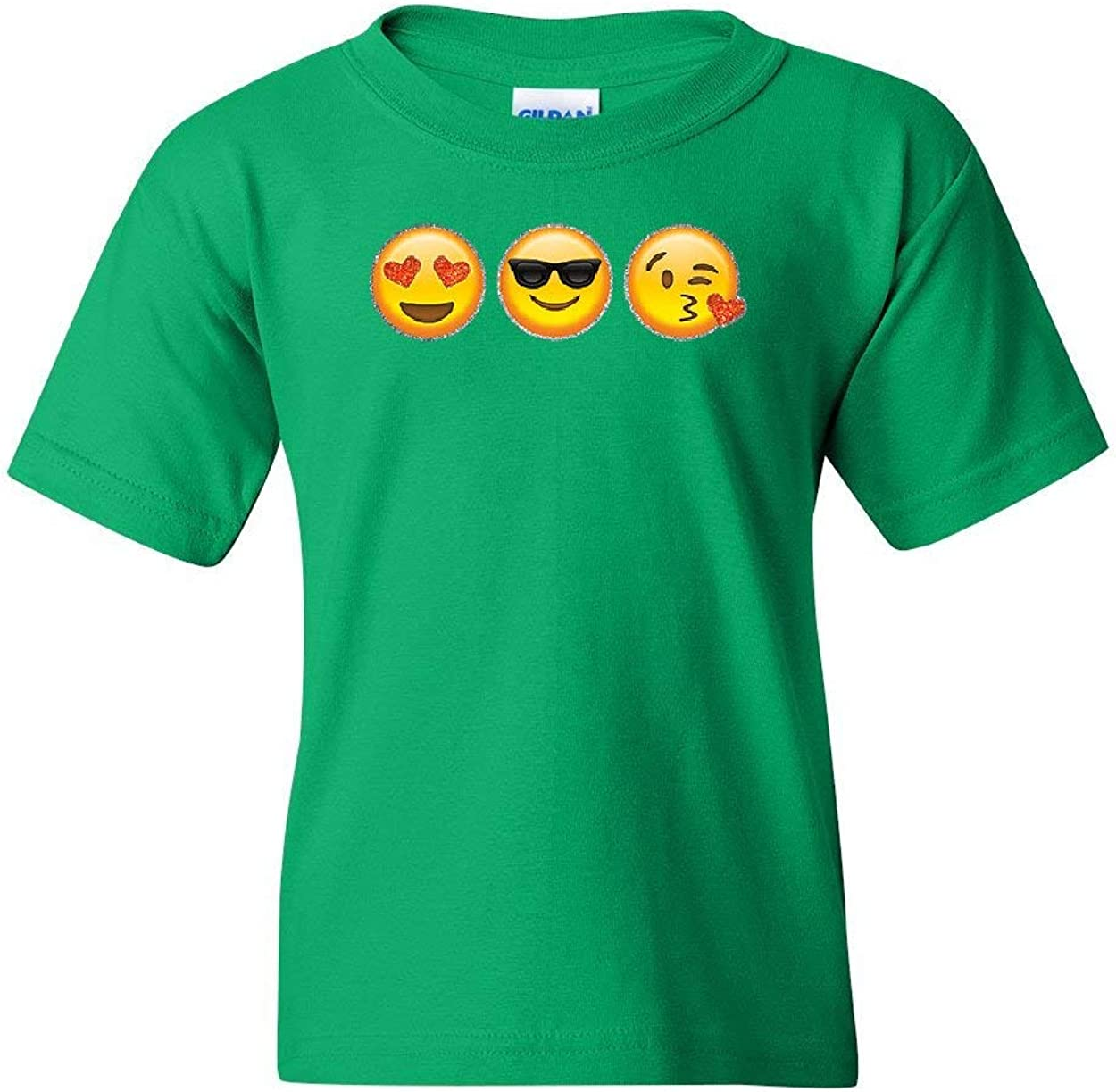 3 Emoji Faces Youth T-Shirt Funny Cute Glitter Smiley Face Pop Culture Kids Tee
