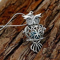 Maromalife Premium Owl Lava Stone Aromatherapy Essential Oil Diffuser Necklace Locket Pendant Gift Set with 24\