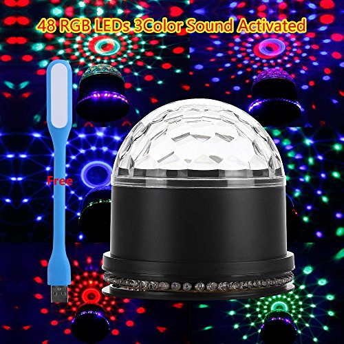 12 Color Changes Magic Stage Ball Light 48 RGB LEDs 3 Color Sound Activated 2-In-1 for Wedding DJ Disco Bar Club...