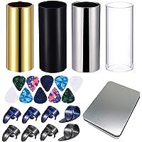 4 toboganes de guitarra medianos con caja de metal, 10 púas de guitarra y 8 púas de plástico para pulgar y dedos