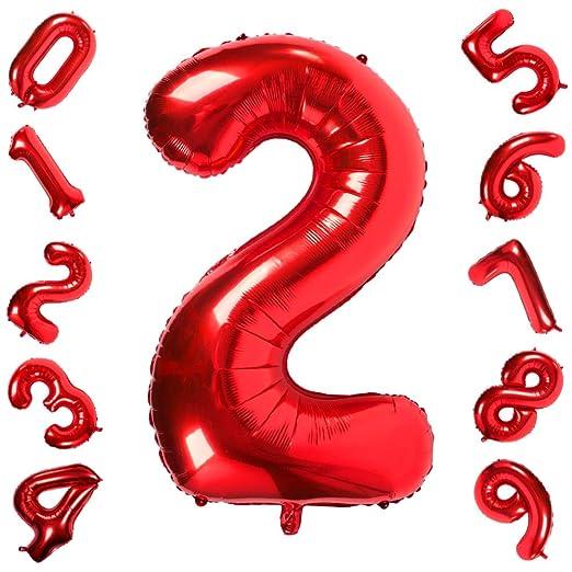 42 Pulgadas Grandes Globos Rojos Números 2, Jumbo Foil Helio Globos Digitales para Cumpleaños Fiesta de Aniversario de Boda Festival Decoraciones