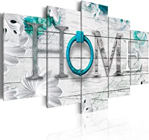 Dreamy Home 5 Panels Turquoise Canvas Print Painting Decor Modern Abstract Wall Art Decoration 40