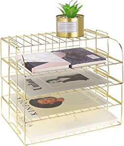 LEORISO 4-Tier Stackable Letter Tray, Gold Desk Organizer, Metal File Organizer Tray, Paper Holder Rack, Desk Accessories for School Home Office Supplies