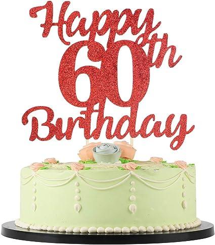 Pleasing Amazon Com Lveud 60Th Birthday Cake Topper For Happy Birthday Personalised Birthday Cards Sponlily Jamesorg