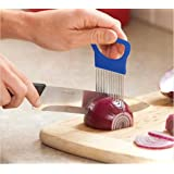 1Pcs Easy Cut Onion Holder Fork Stainless Steel, Plastic Vegetable Slicer Tomato Cutter Metal Meat Needle Gadgets Meat Frok Color: Blue/Orange(Sent by random)