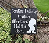 Sometimes I Wake Up Grumpy, Other Times I Let Him Sleep Wall Sign, Snow White and the Seven Dwarfs Sign, Grumpy Sign, Disney Sign, Sign