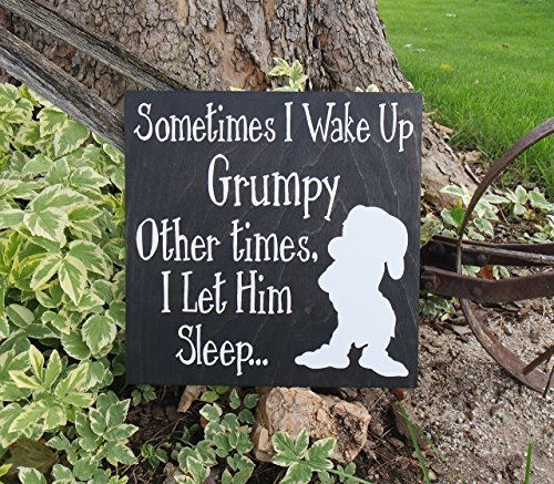 Sometimes I Wake Up Grumpy, Other Times I Let Him Sleep Wall Sign, Snow White and the Seven Dwarfs Sign, Grumpy Sign, Disney Sign, - Sugar Dwarf White