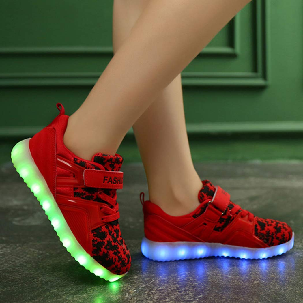 bbpawing Boys Girls USB Charging LED Light Up Shoes Colorful Flashing Sneakers