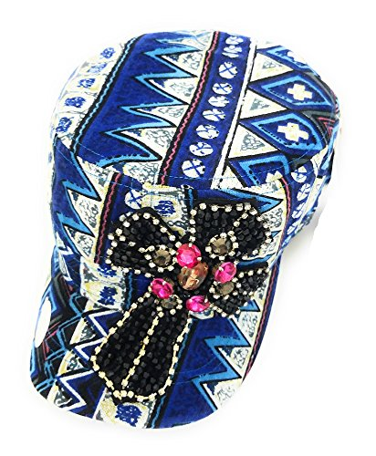 - NG JP Adjustable Tapestry Aztec Chevron Beaded Rhinestone Cross Cadet Hat Cap (Blue White)