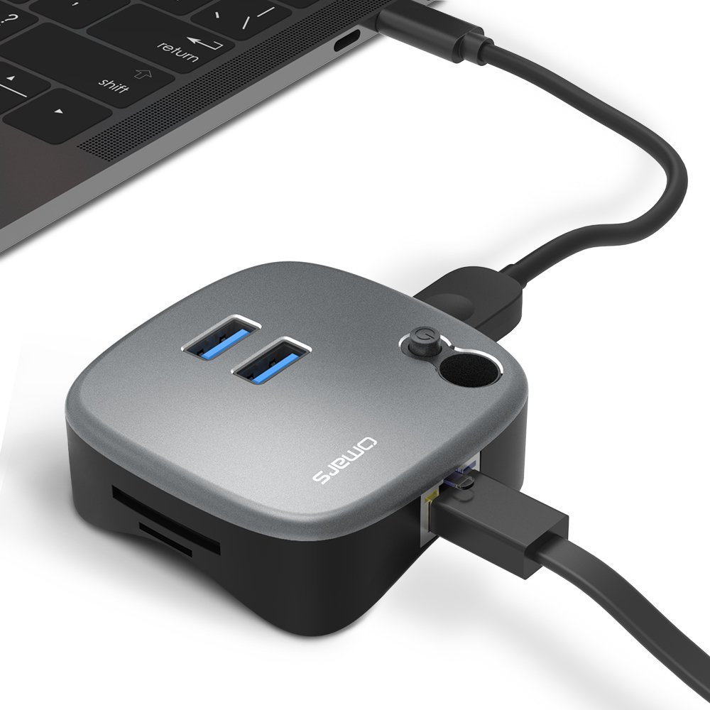 Omars USB 3.0 Dock with SD/microSD Card Reader, 2 USB 3.0 Ports, Gigabit Ethernet Port, USB Hub for Microsoft Surface, MacBook, Huawei Matebook, HP, Lenovo and all USB A and USB C PC and Laptops