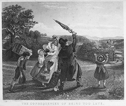(Missing The Stagecoach NThe Consequences Of Being Too Late Steel Engraving 1843 After A Painting By The Swiss Artist John James Chalon (1778-1854) Poster Print by (24 x 36))