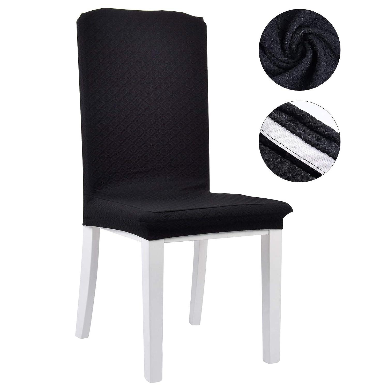 justdolifeダイニングチェアカバー椅子Slipcoversスパンデックス椅子シートカバー椅子プロテクターカバーホームホテルウェディング One Size ブラック X09J06M6H724NPD4QZIQ217L  ブラック B07DNNXBJB